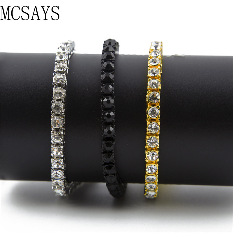 MCSAYS Hip Hop Bracelet 1 Single Row Crystal CZ Bling Tennis Chain Bracelet Gold/Silver-color Black-color Iced Out Bangle 4GM