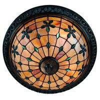 20 Inch Retro Tiffany Flower Stained Shell Flush Mount Lamp E26 E27 European Vintage Bar Living