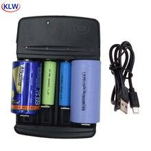 4 Slots Smart Usb Batterij Oplader Voor Oplaadbare 1.2V Aa Aaa Aaaa Nimh Nicd 1.5V Alkaline 3.2V liFePo4 18650 Batterij Oplader