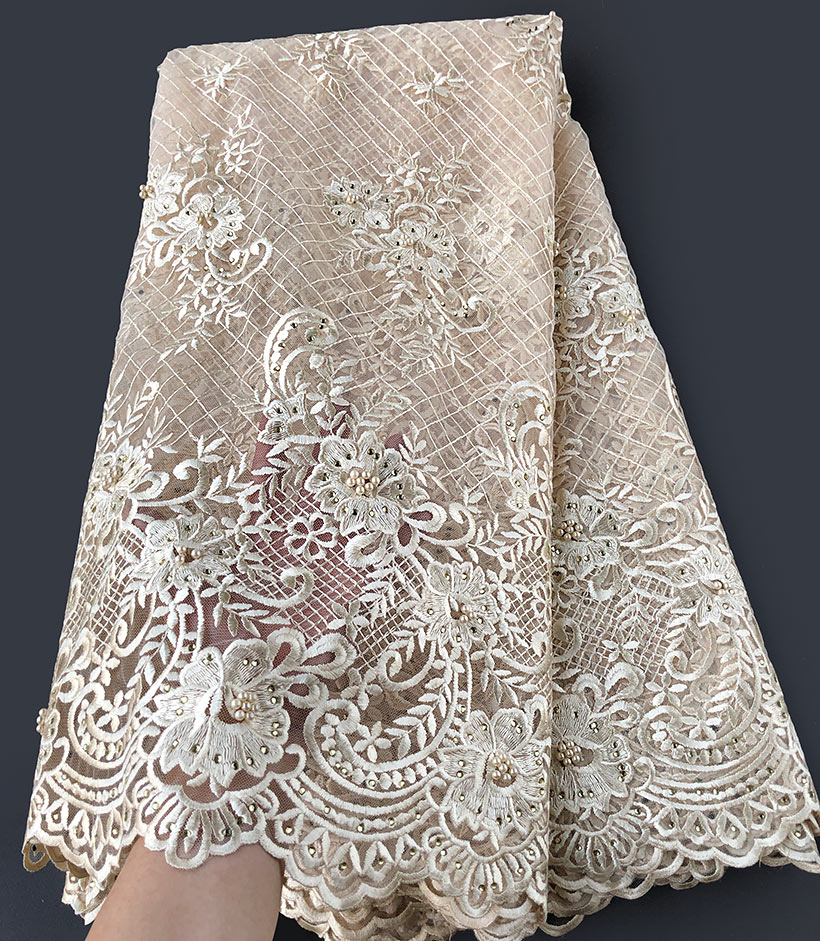 plain beige High grade neat embroidery french lace soft African lace fabric Nigerian celebration cloth high