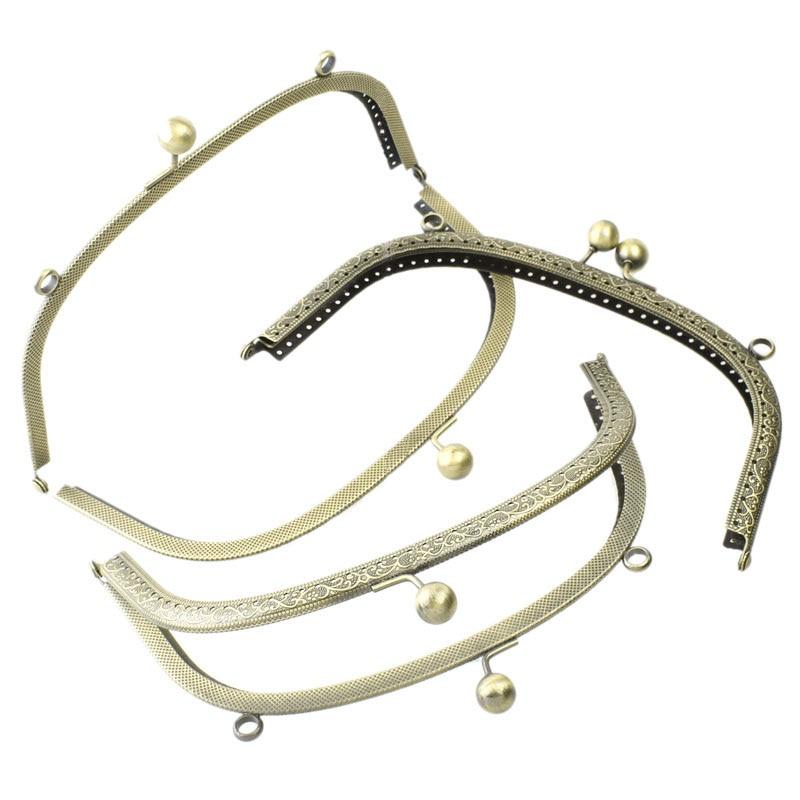 5Pcs Bronze Tone Coins Purse Metal Arch Frame Kiss Claspa Locka Handlea Clutch Handbag Making 20x11.5cm
