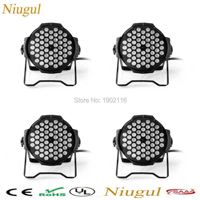Niugul 4pcs/lot DMX Led Par 54X3W RGBW Stage Par Light Wash Dimming Strobe Lighting Effect Light for Disco DJ Party Show par led niugul led par light rgbw 54x3w stage light ktv dj disco lighting dmx512 strobe party wedding event holiday lights wash effect