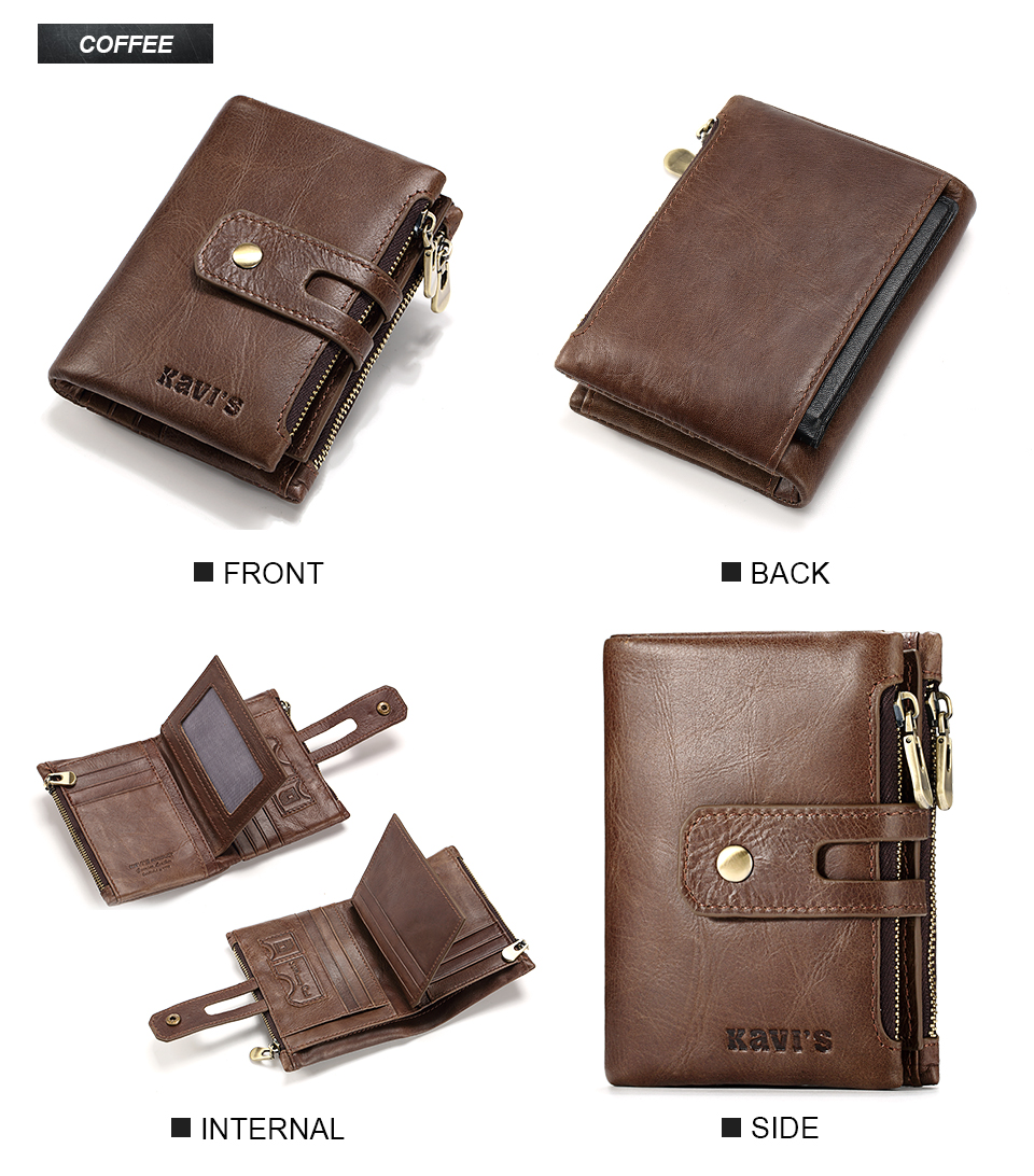 Topdudes.com - Genuine Leather Portfolio Wallet with Coin Bag and Card Holder