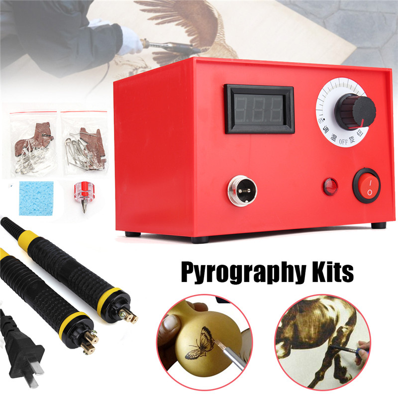 220V 50W 2pcs Pyrography Pen Multifunction Pyrography Machine Gourd Wood Burning Pen Craft Tool Kit Sets US Plug us plug 24x 30w 110v wood burning pyrography tool kit craft wood burning pen tips full set numbers stencil for hobby craft