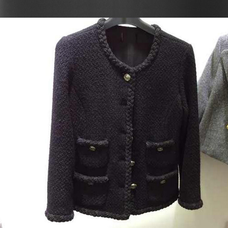 Black tweed jacket 2017 autumn / winter new women's coat ladies ...