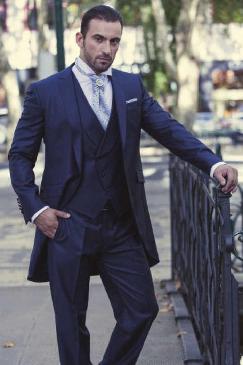 Navy Blue Groomsmen One Button Groom Tuxedos Notch Lapel Men Suits Wedding Best Man Blazer ( Jacket+Pants+Tie+Vest ) C169