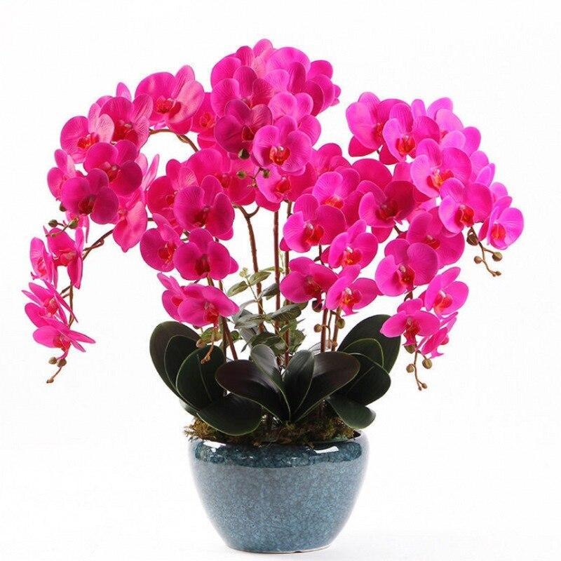 1 шт., 8 головок, Орхидея-бабочка, искусственный цветок, фаленопсис, Орхидея, шелк, настоящее прикосновение, искусственные цветы, свадебное ук...