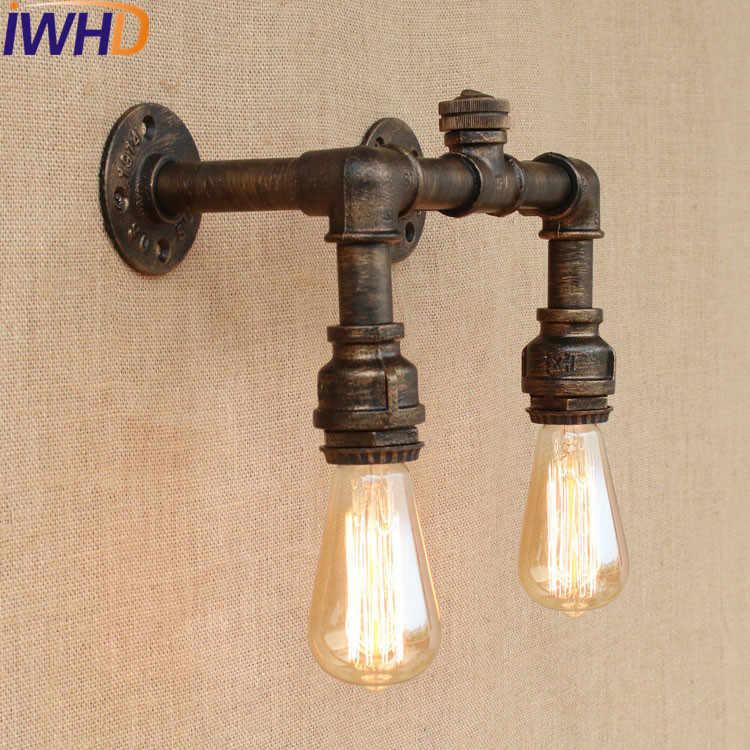 IWHD чердак, ретро, железо водопроводная лампа Промышленный Эдисон настенный переключатель для Бра винтажные Настенные светильники для домашнего освещения Lamparas