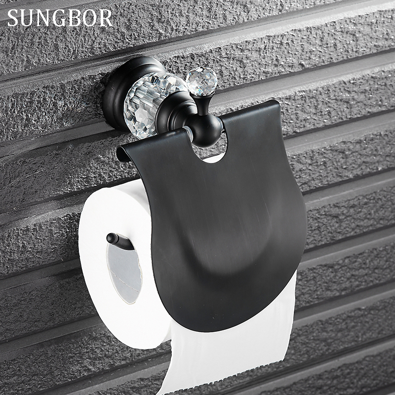 Blackend crystal Toilet Paper Holder,paper Roll Holder,Tissue Holder,Bathroom Accessories Products black orb paper holder 4908H бумага для писем other paper products brand 0014
