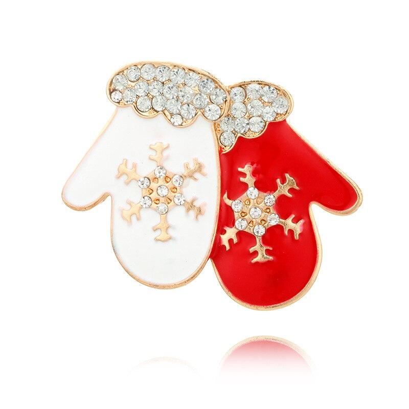 DoreenBeads Christmas Gift Snowflake Gloves Badge Enamel Pin Brooch for Girls Woman T Shirt Collar Sweater Coat Scarf Hat 3.5cm