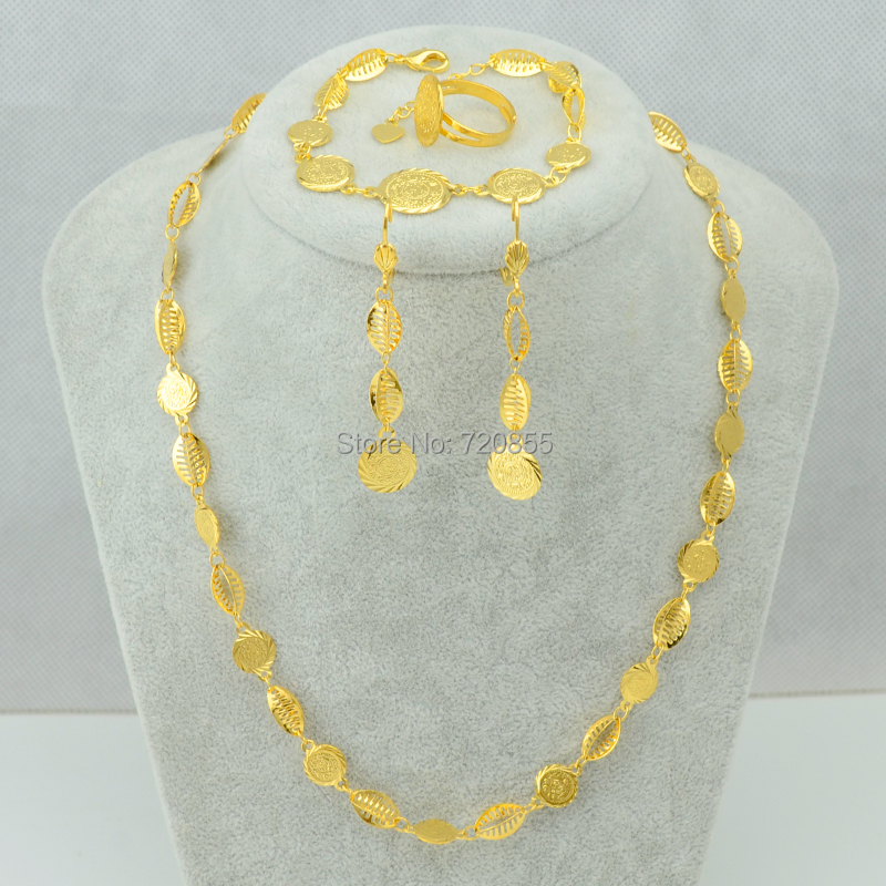 New Coin Set Necklace Bracelet Earring Ring Gold Plated Filled 18k