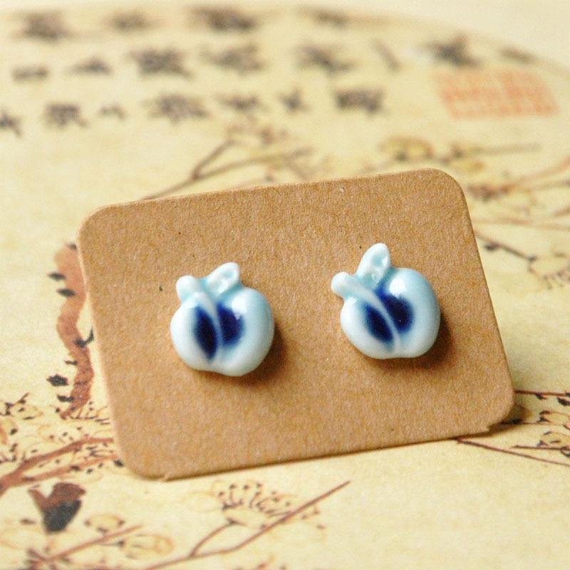 Apple Stud Earrings Women Men Ceramic Fruit Leaf Earring Pendientes Fashion Ear Piercing Accessories Ethnic Jewelry