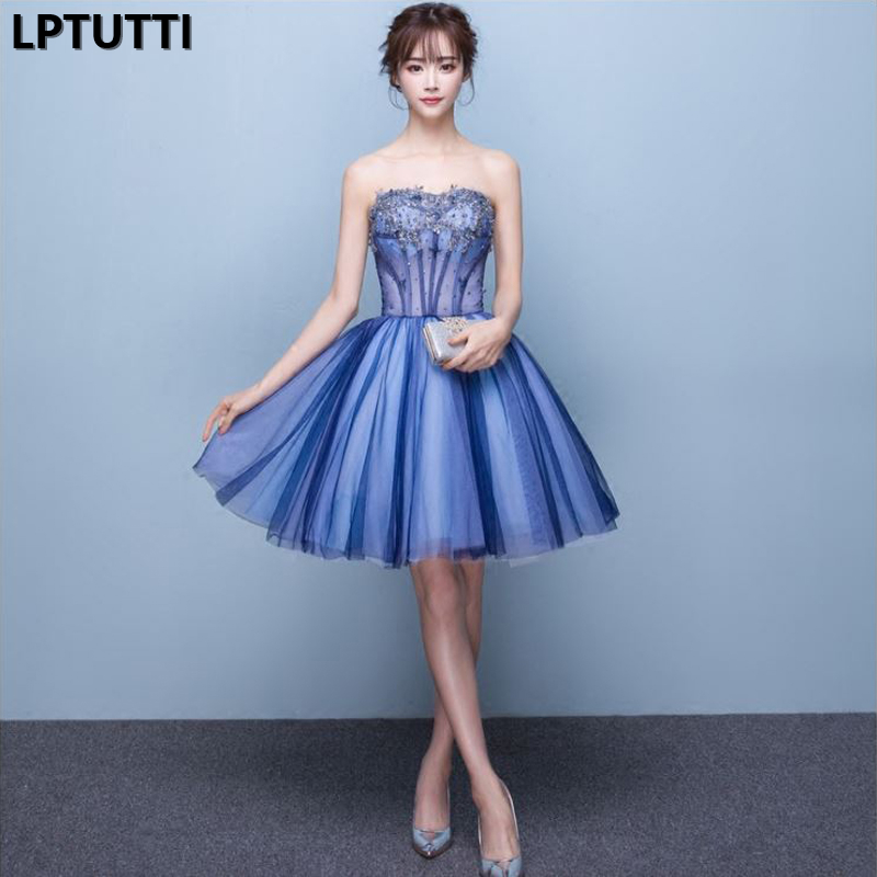 LPTUTTI Crystal Beading New Sexy Woman Social Festive Elegant Formal Prom Party Gowns Fancy Short Luxury   Cocktail     Dresses