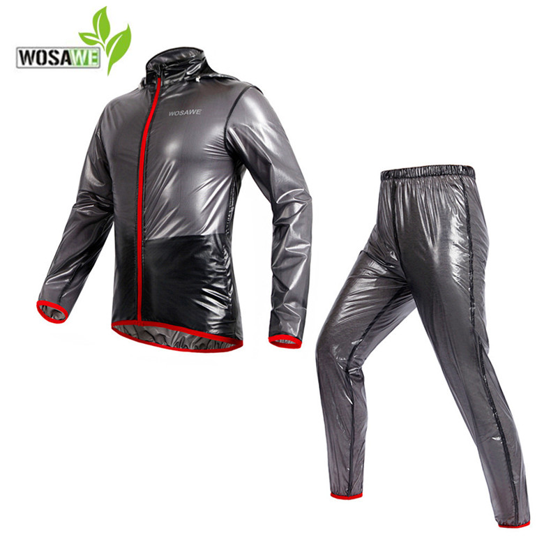 WOSAWE cycling Jackets Sports Suits Rainproof men Waterproof Windproof TPU hooded Raincoat man Bicycle road bike ciclismo set