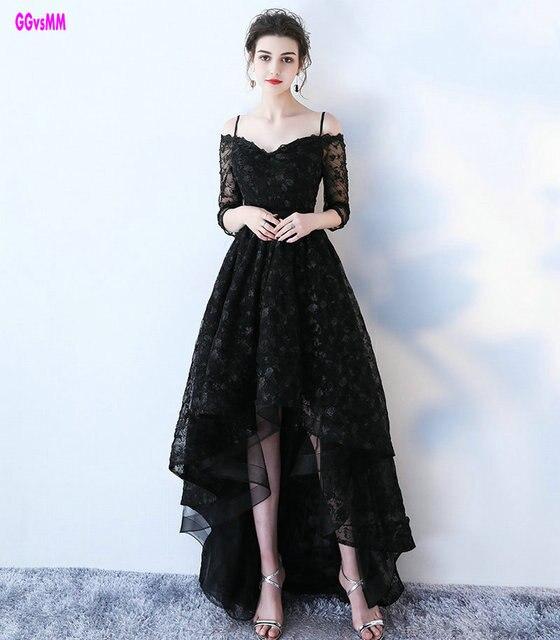 dde2bd995 Glamour negro encaje vestidos de baile 2019 nueva Sexy Vestido largo de  baile cariño Cap manga