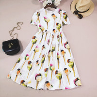New arrival 2017 summer fashion women ice cream patterns print white casual dress short sleeve knee length pleated dresses