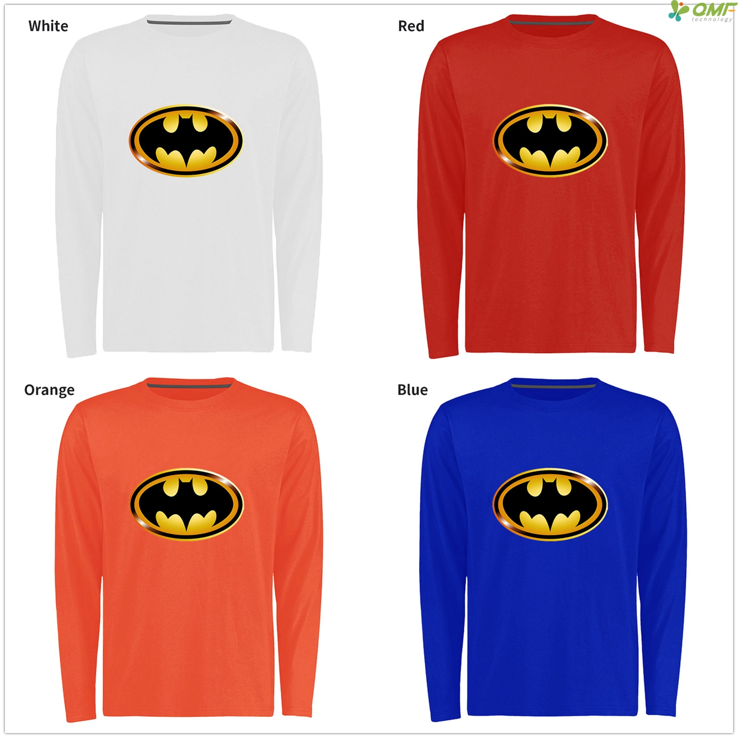 Golden Batman Logo Men Skateboarding T Shirts Long Sleeve Black