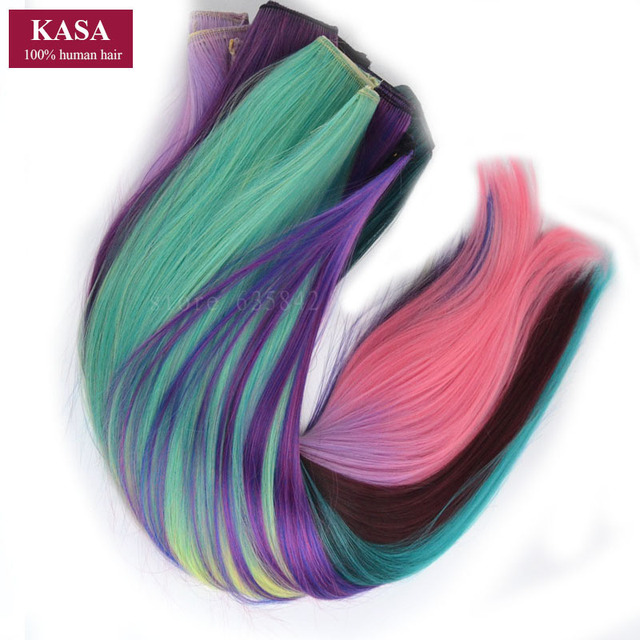 5Clips Clip In Hair Extension Straight 24″ 60cm 110g  Rainbow Ombre 14Colors Available Kanekalon Synthetic Hair Hairpieces Slice