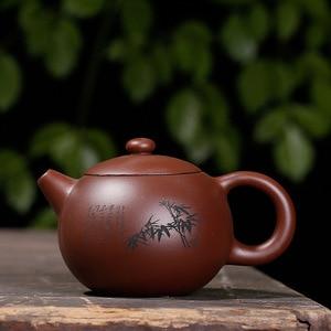 Image 3 - Фиолетовая глина Слива LAN бамбук Хризантема Shih чайник ручной работы горшок Исин Чайник чистая ручная работа