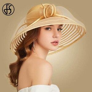 Image 3 - FS 2020 Stroh Breiter Krempe Hut Für Frauen Bowknot Weiß Schwarz Floppy Faltbare Strand Hüte Weibliche Damen Frühling Sommer Sonne visier Kappen