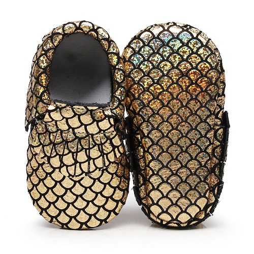 New customs gold Sequins stripe Genuine Leather Baby moccasins tassel First Walkers Soft ...