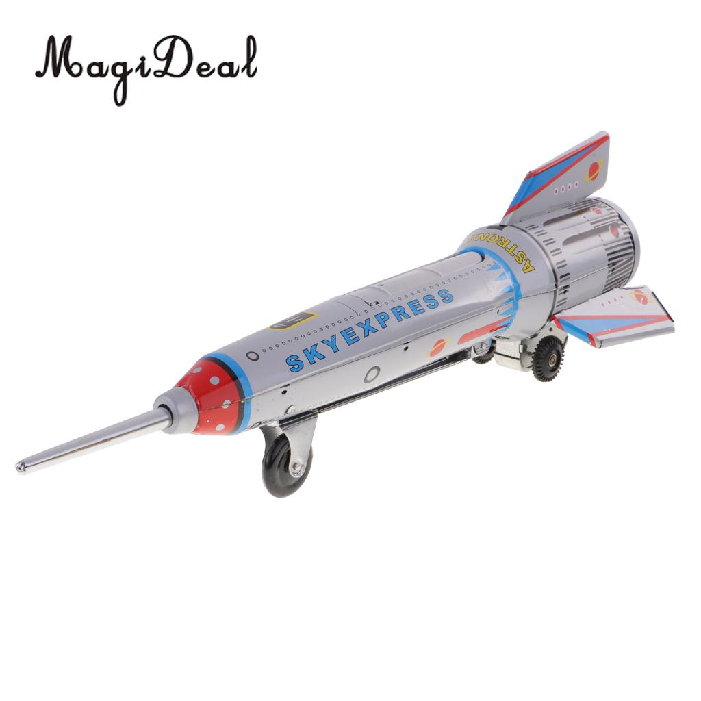 MagiDeal 1Pc Retro Rocket Spaceship Model Clockwork Wind Up Tin Vehicle Toy for Children Kids Boy Adult Collectible Classic Toy