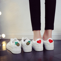 Free Shipping 2017 Spring New Fashion Women Shoes Flats Casual Sport Breathable PU Heart Pineapple Shoes