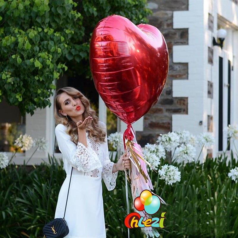 32 дюйма 75 см «любящее сердце» Форма алюминиевой фольги Воздушные шары на день рождения вечерние украшения воздушный шар с гелием свадебное украшение чистое Globos-1