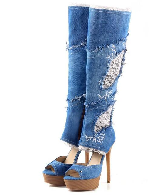 aaa35863fb5a fashion style jeans peep toe women knee high boots high heel with solid  platform hottest selling summer shoes for casual