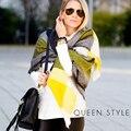Za Tartan Scarf Plaid Scarf Women Blanket Over sized Wrap Shawl Cozy Checked Yellow Factory Women's Scarves Foulard Femme 2016