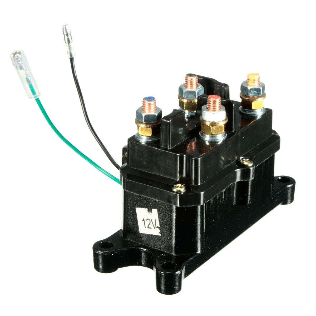 universal 12v solenoid relay contactor winch rocker switch thumb for atv utv practical 1 set [ 1200 x 1200 Pixel ]