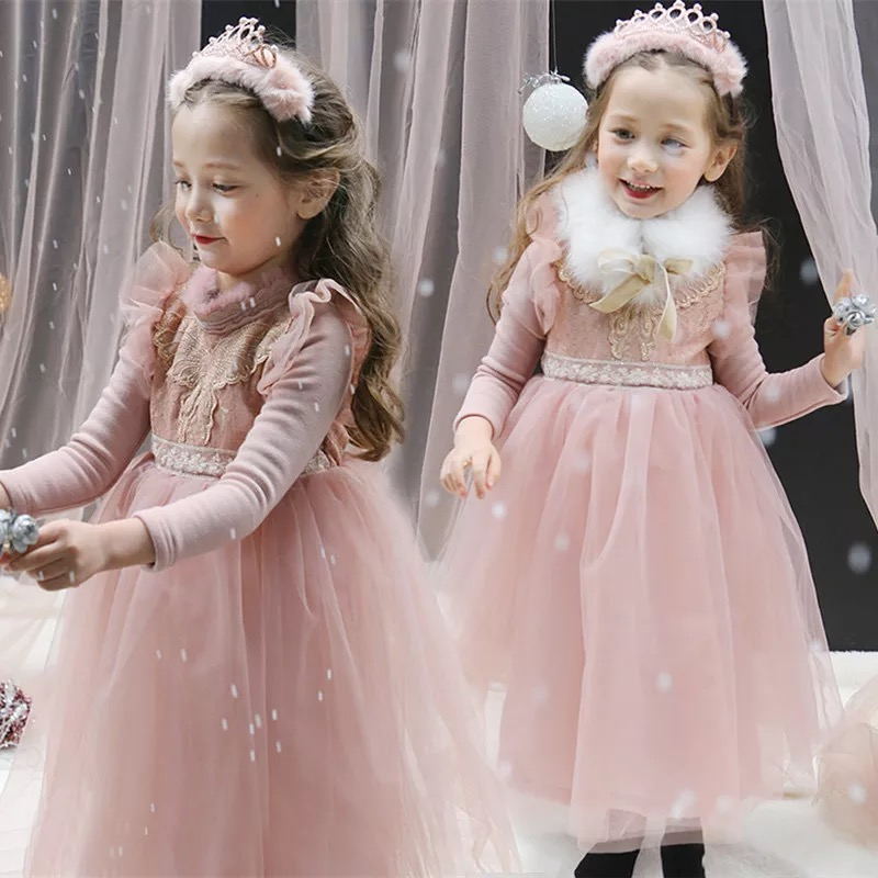 Teenage Girls Pink White Dress Long Sleeve Kids Clothes 2018 Kids Girl Wedding Party Dresses Gown Children Formal Wear Costume 2017 new style long sleeve girls dress grey girl party time winter dress winter clothes girls halloween costume kids clothes