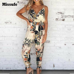 Missufe V шеи сексуальные женские комбинезоны с поясом Женское боди Macacao Feminino цветочный костюм пляжного типа печати сезон: весна–лето