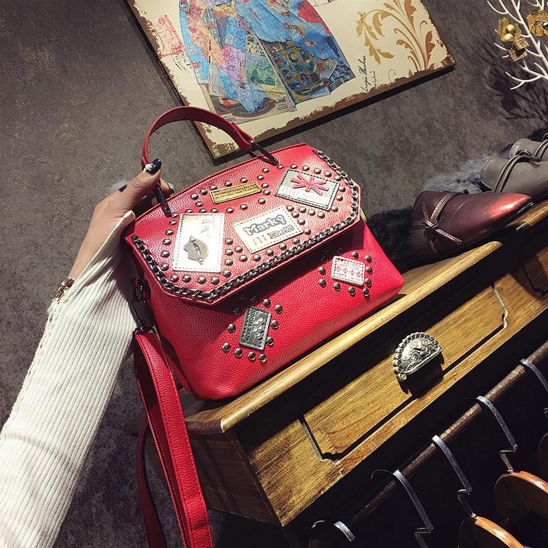 Women Bag 2017 New Fashion Clutch Tas Street Snap Rivet Designer Handbags High Quality PU Leather Shoulder Bag Female Sac A Main