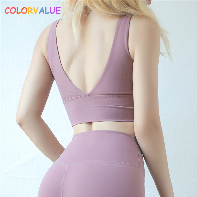 2b190b21b0 Colorvalue Sexy Deep V Yoga Sports Bras Women Push Up Nylon Workout Fitness  Crop Top Vest Type Gym Exercise Sport Brassiere-in Sports Bras from Sports  ...