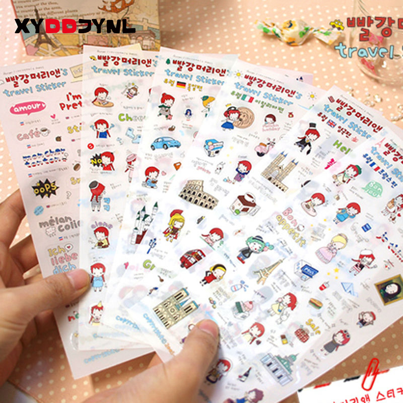 6Sheets/Pack Red Hair Girl Travel Diary Decoration Scrapbooking Stickers PVC Transparent Stickers Girl Gift