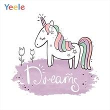 Yeele Unicorn Birthday Photocall Dream Horse Cartoon Photography Backdrop Personalized Photographic Backgrounds For Photo Studio