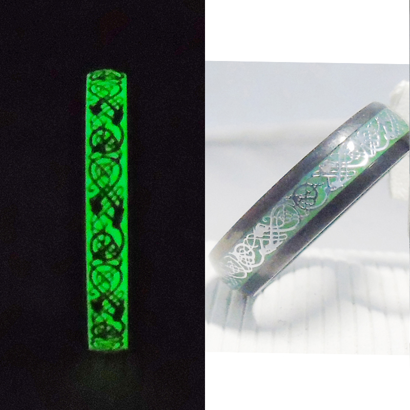 6mm Women Rings Unique Original Luminous Ring Glow In The Dark Silver Dragon Inlay Green Background Fashion Party Bar Free Box 1kg free ship yellow green glow stones photoluminescent stone glow in the dark pebble luminous pebble stone for garden aquarium