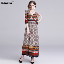 Banulin High Quality Runway Maxi Dress 2019 Summer Women's Half Sleeve Vintage Print Long Maxi Party Boho Dress Vestidos B8830 white half sleeve maxi dress