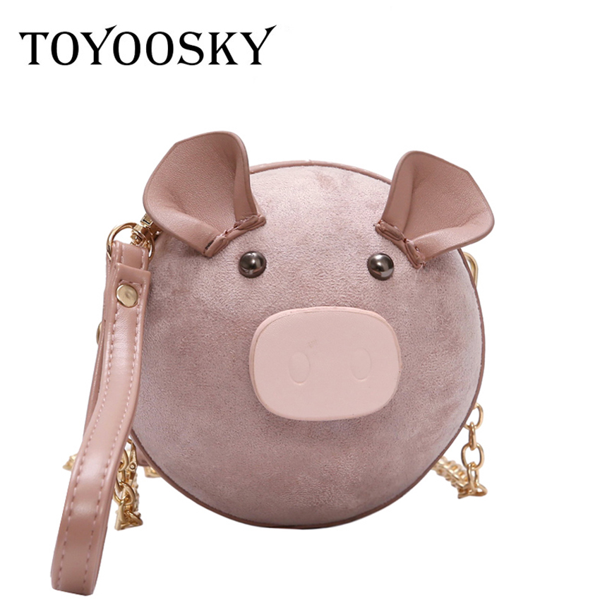 TOYOOSKY Circular Design Fashion Women Shoulder Bag Cute Pig Shaped  Crossbody Bags Suede Ladies Phone Purse Round Handbag Bolsa-in Shoulder Bags  from ... 58c869e2aa6b