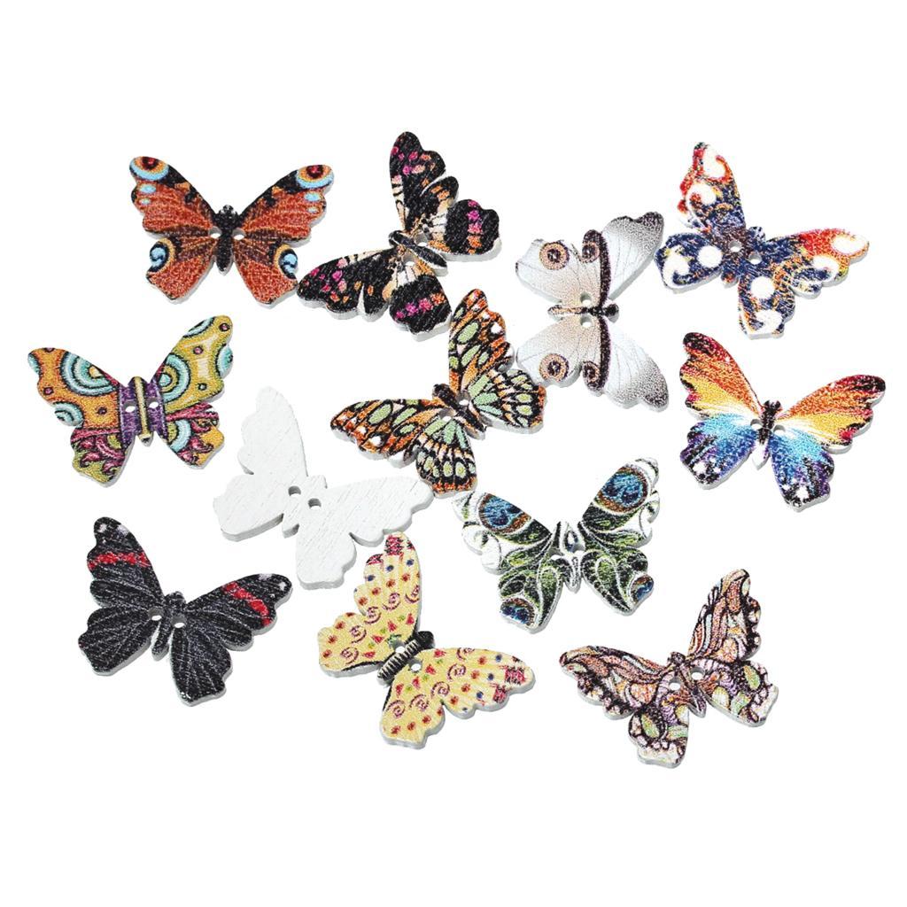 Экологически чистая деревянная швейная Кнопка Скрапбукинг бабочка наугад 2 отверстия узор 25 мм (мм 1 «шт.) x мм 18 мм (6/8»), 9 шт. Новый