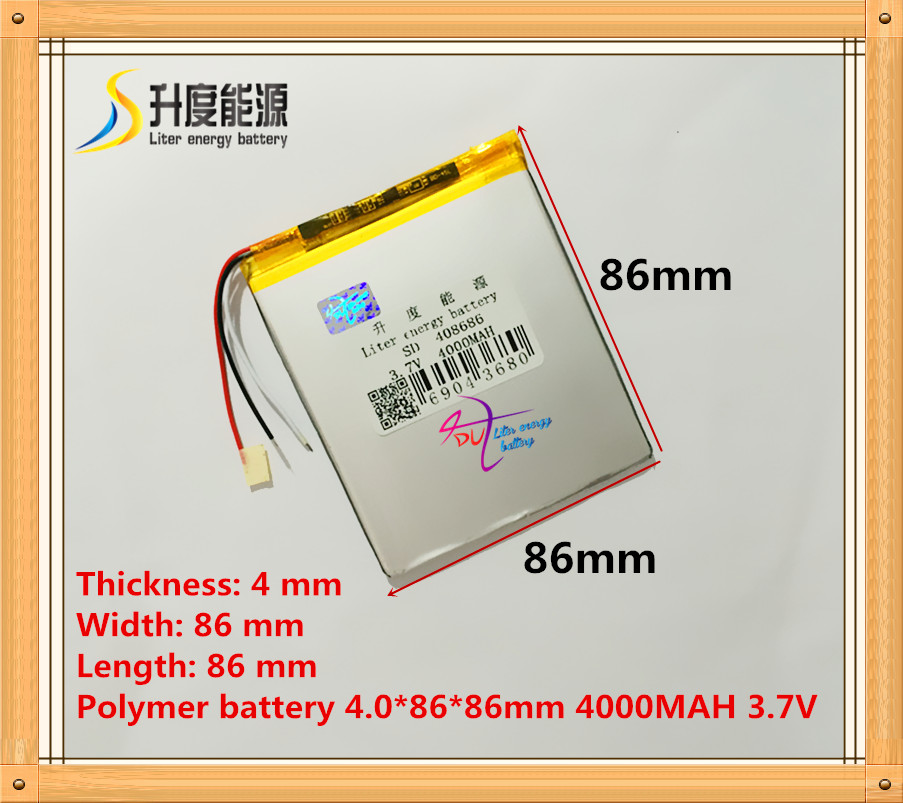 3 wire The tablet battery 3.7V 4000mAH 408686 Polymer lithium ion / Li-ion battery for tablet pc battery fedex free shipping 100pcs lot lithium ion polymer battery 2000mah 3 7v li ion rechargeable battery pack with bms for tablet pc