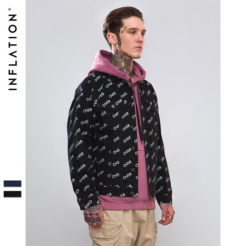 Инфляция осень 2018 г. Письмо печати джинсовые куртки для мужчин хип хоп костюмы с длинным рукавом s Уличная крутые джинсы куртки 8751 Вт