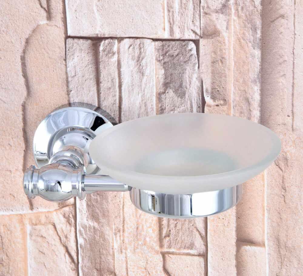 Łazienka akcesoria luksusowe polerowany mosiądz chromowany matowe szklane naczynie do montażu na ścianie mydelniczka łazienkowa uchwyt na mba787