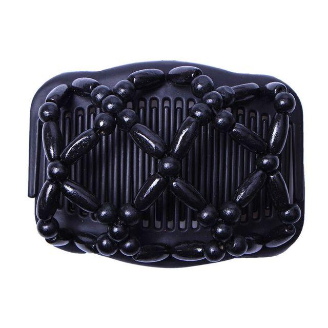 2018 nuevo pelo de mujer peines de madera Retro Magic Bead elástico doble joyería peine Clip horquillas salón estilo Tamer Dropshipping