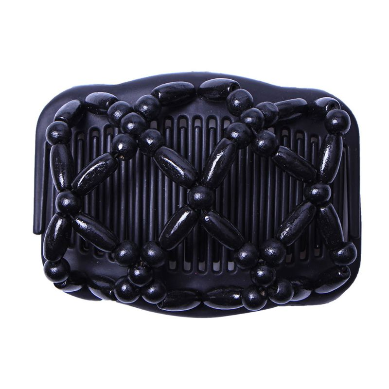 New Women Hair Wooden Combs Retro Magic Bead Stretchy Double Jewellery Comb Clip Hairpins Salon Styling Tamer Dropshipping