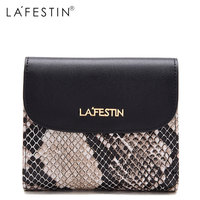 LAFESTIN Genuine Leather Wallet Women Fashion Short Wallet 100% Leather Coin Purse Lady Credit Card Holder Zipper Ladies Wallet