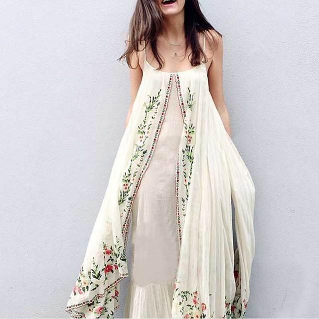 ba215bd3547 Boho Inspired floral embroidered maxi dress adjustable straps summer dresses  scallop ruffle finish dress female vestidos 2017