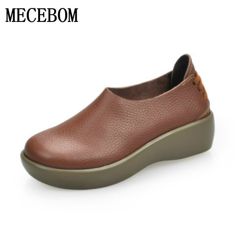 ФОТО New 2017 women genuine leather shoes woman Full grain leather cowhide women flats fashion round toe platform women's shoes 1108W