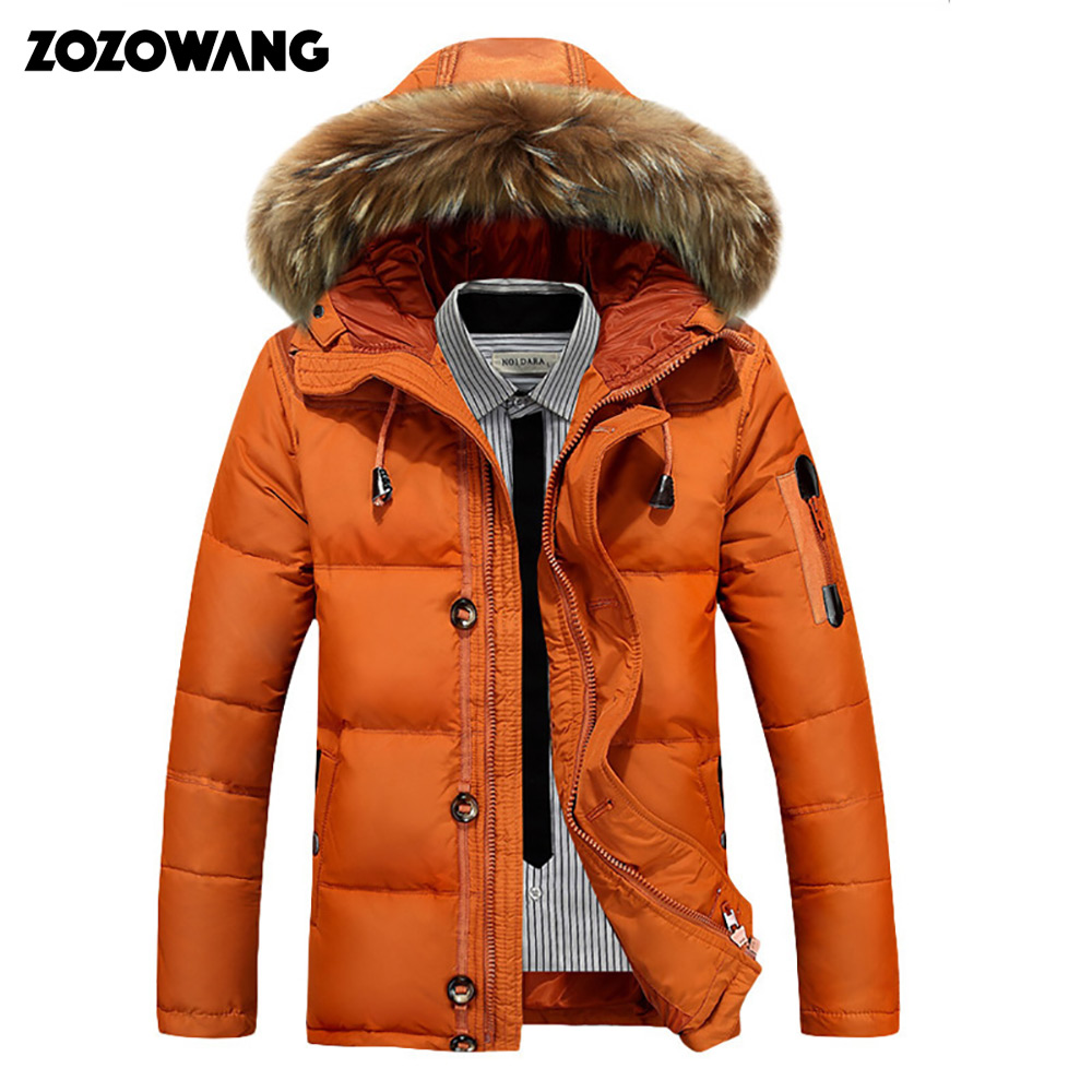 Thickening Parkas Men 2019 New Winter Jacket Men's Coats Male Outerwear Fur Collar Casual Long White Duck Down Jacket Men Hooded